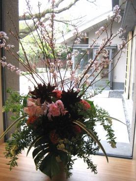 桜、ダリア(黒蝶)、シンビジューム、コデマリ、キキョウラン