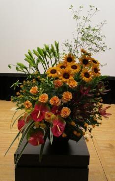 どうだんつつじ、ヒマワリ、バラ(カルピデューム)、アンセリューム、リューカデンドロン、紅花、キキョウラン